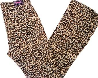 90s flare Animal Print leopard cheetah print bootcut pants bubblegum jeans size 9:10