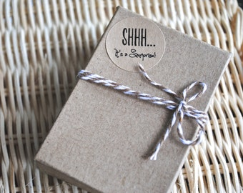SHHH! It's a surprise - Kraft or White round labels/seals - wedding seal 1""