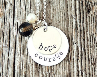 Hope Necklace, Courage Necklace, Inspirational Jewelry, Handmade Jewelry, Sterling Silver Charms