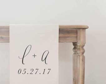 Personalized Table Runner - Two Initials and Date