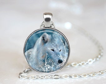 Glass Tile Necklace Wolf Necklace Tree Necklace Glass Tile Jewelry Animal Jewelry Tree Jewelry Wolf Jewelry Black Necklace Black Jewelry