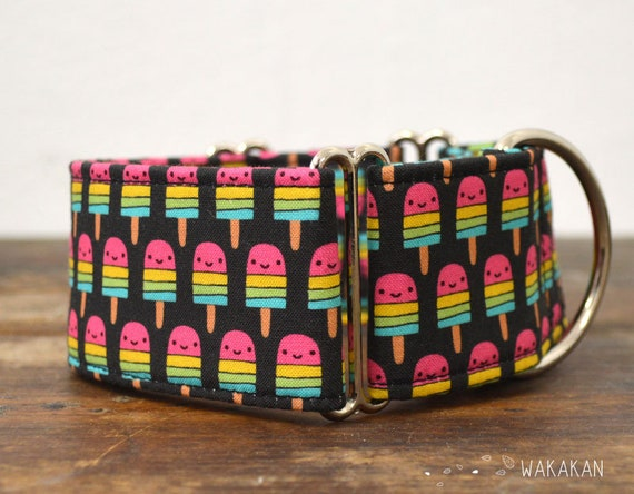 Martingale dog collar model Popsicle. Adjustable and handmade with 100% cotton fabric. Kawaii, summer icecream. Wakakan