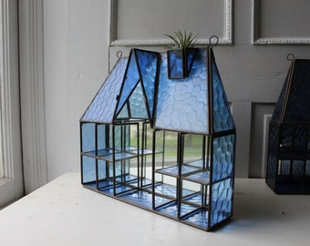 Pair Blue Glass House Shadowbox Display Shelves - Glass Wall Display Shelf - Matching Glass Display Cases