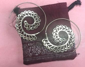 Medium Brass Spiral Earrings