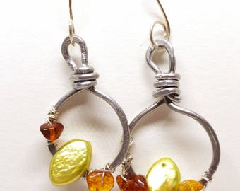 Amber silver circle earrings with Chartreuse fresh water pearls
