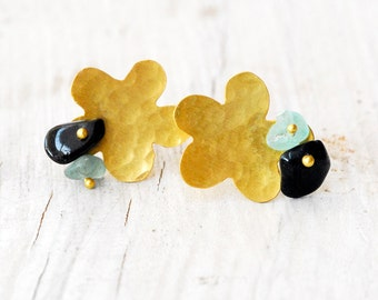 Gold Flower Earrings, 18 Karat Solid Gold Studs Aquamarine and Onyx, Delicate Real Gold Bridal/Wedding Earrings, Flower Studs, Gold Jewelry