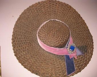 1940s Woven Straw Wide Brim Hat, 18in Wide Brim Woven Straw VINTAGE HAT, Unusual Straw Hat with Rhinestones Big Brim