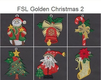 FSL Golden Christmas 2 Free Standing Lace Machine Embroidery Designs Instant Download 4x4 hoop 10 designs APE2335