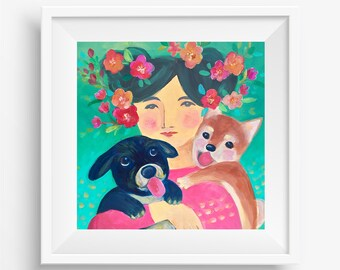 Spring Day, Digital download-only image, Printable art, Dog print, Handmade, All the proceeds will be donated to rescue organizations