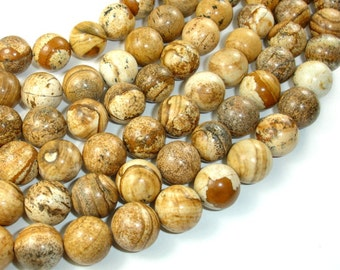 Picture Jasper, 14mm Round Beads, 15 Inch, Full strand, Approx 27 beads, Hole 1 mm (345054008)