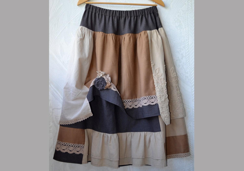 jupe boh me lin jupe longue jupe marron et beige jupe. Black Bedroom Furniture Sets. Home Design Ideas