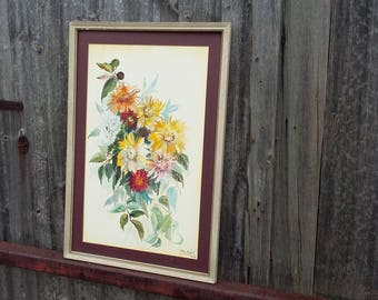 Original Vintage Watercolour of Flowers by Alex Boyd 1972