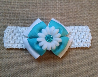 Baby Girl Headband, Infant Headband, Flower Headband, Turquoise Headband, Baby Hair Accessory, Baby Headband, Girls Hairbow, Teal Hairbow