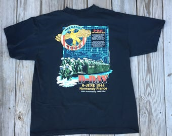 Operation Overlord D Day Normandy France Graphic T Shirt 1994 Sunburst Sportswear Delta XL Made in USA