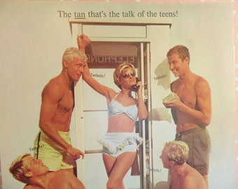 Vintage Sun Tan Lotion Advertisement - Tanfastic - Sun Screen Ad - Sea And Ski - 1960s Magazine Ad