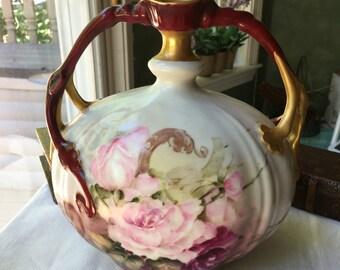 Stunning Jean Pouyat Limoges Vase Hand Painted Gold Gilt Extremely Rare Antique Limoges France Vase J P L France