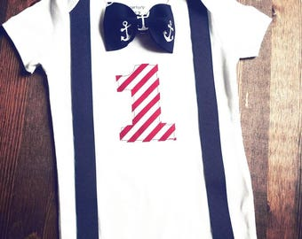Boys First Birthday Outfit - Navy Blue Red Birthday - Nautical Birthday Shirt - Anchor Birthday - 1st Birthday Boy - First Birthday Shirt