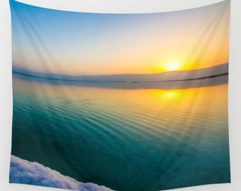 Sunrise Tapestry Dead Sea Beach Sunrise Turquoise Tapestry Sunshine Tapestry Photo Tapestry Sea View Tapestry Wall Hanging Sky Tapestry