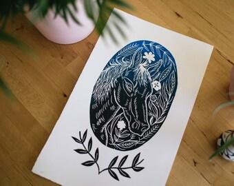 Wild horse and flowers linoleum block print