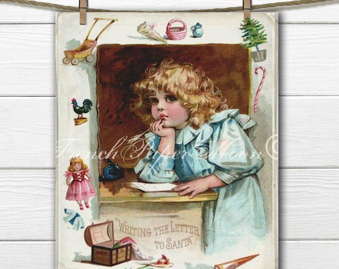 Adorable Frances Brundage Letter to Santa Digital Download, Victorian Girl, Christmas Printable, Fabric Transfer