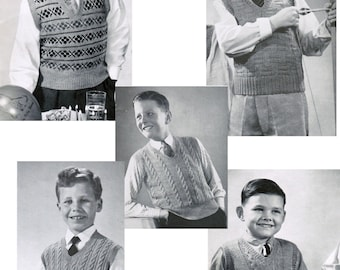 Boys Vintage Sleeveless Sweater Patterns (Set of 5) PDF / Sizes 8 to 14 / Knitted Fair Isle Vest Pattern / Cable vest pattern