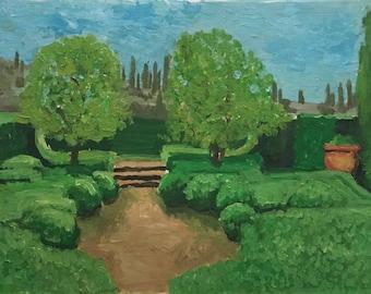 "Italian Park – Original Oil Painting on Paper – 18,8""x12,5"" (48 cmx32)"