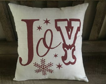 Joy Christmas Pillow-Decorative Rustic Chic Pillow-Winter-Snowflakes-Stars-Hand Painted