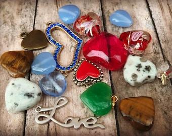 Heart destash supply mix valentine romance hearts love glass gemstone brass hearts