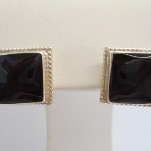 Taxco Earrings, Sterling Earrings, Stud Earrings, Taxco Studs, Taxco Sterling Silver Black Enamel Stud Post Earrings T4-127 #1462