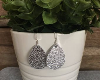 Leather Earrings/Statement Earrings/Gifts for Her/Teardrop Earrings/Drop Earrings/Lightweight Earrings/Diffuser Jewelry/Silver Leather
