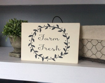 Farm Fresh Sign, Wood Sign, Painted SIgn, Kitchen Decor