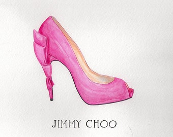 Jimmy Choo Watercolor Fashion Illustration, Pink Bow Shoe Print, Fashion Girls Room Décor, Teen Bedroom Art, Pink Bedroom Watercolor by Zoia