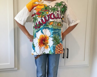 80s Hawaii Shirt/ Sequins and Beading/ Shoulder Pads