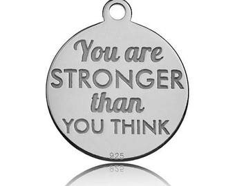 Charm 'You are stronger than you think' Sterling Silver 925