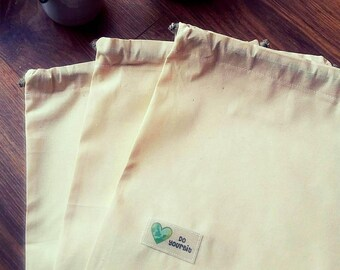 5 Handmade Organic Cotton Produce Bags