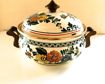 Fissler Asta Covered Casserole Pot Dish Enamel Old Amsterdam Pattern Flowers Orange Yellow Blue Germany