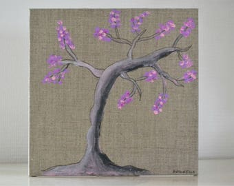 Cherry Blossom tree painting, painting on linen, romantic painting tree, shabby, acrylic painting canvas 20 x 20