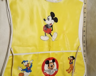 Disney Vintage Child's Paint Apron/Mickey Mouse Apron with Donald Duck & Pluto