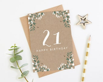 21st Birthday Card Botanical Kraft