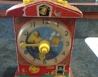 Fisher Price Music Box Tick Tock Clock 1968 Era