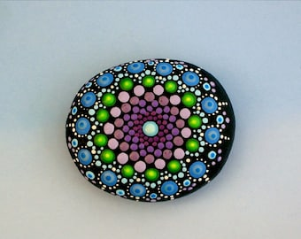 SHIPS FREE-Mandala stones painted rocks Bohemian dot art desktop garden terrarium dot art blue purple amethyst green pointillism Zen glow