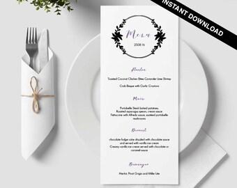 Calligraphy menu, napkin menu insert, damask wedding, bar menu template, table menu, word template, weddings, floral, wreath, circle, 37
