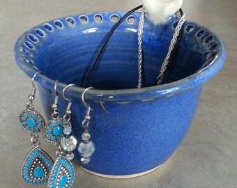 Pottery Jewellery Holder, Pottery Earring Holder,  Royal Blue Ceramic Jewellery Organizer, Earring Bowl, Pottery Bowl