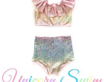 Unicorn Swim suit- high waisted bikini- ruffle swimsuit - baby toddler girls