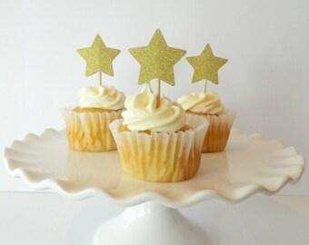 Gold Star Cupcake Picks Star Cupcake Toppers Gold Star Twinkle Twinkle Little Star Gold Star Birthday • Set of 12