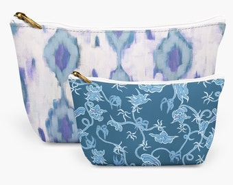 Blue Ikat Chinoiserie Make Up Bag Kit, Coordinated Cosmetic Bags, Two Make Up Bags, Stylish Toiletry Bags