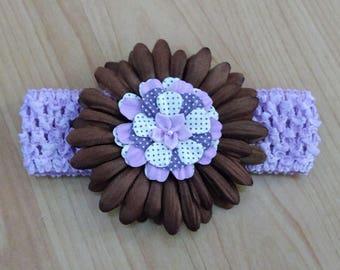 Baby Headband, Flower Headband, Purple Headband, Brown Headband, Baby Hair Accessory, Baby Girl Headband, Toddler Headband, Infant Headband