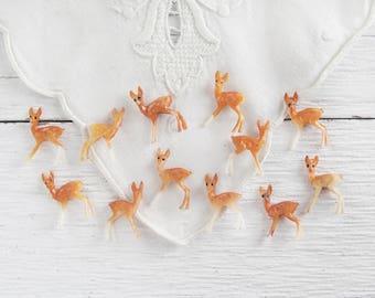 Vintage Plastic Deer - One Dozen Tiny Deer, Miniature Craft Figurines, Old Stock Made in Hong Kong