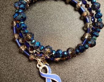 Blue Awareness Ribbon Bracelet