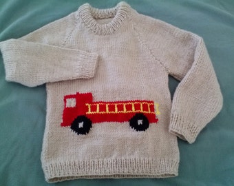 Child's Pullover Sweater with Fire Truck on Front - Buff